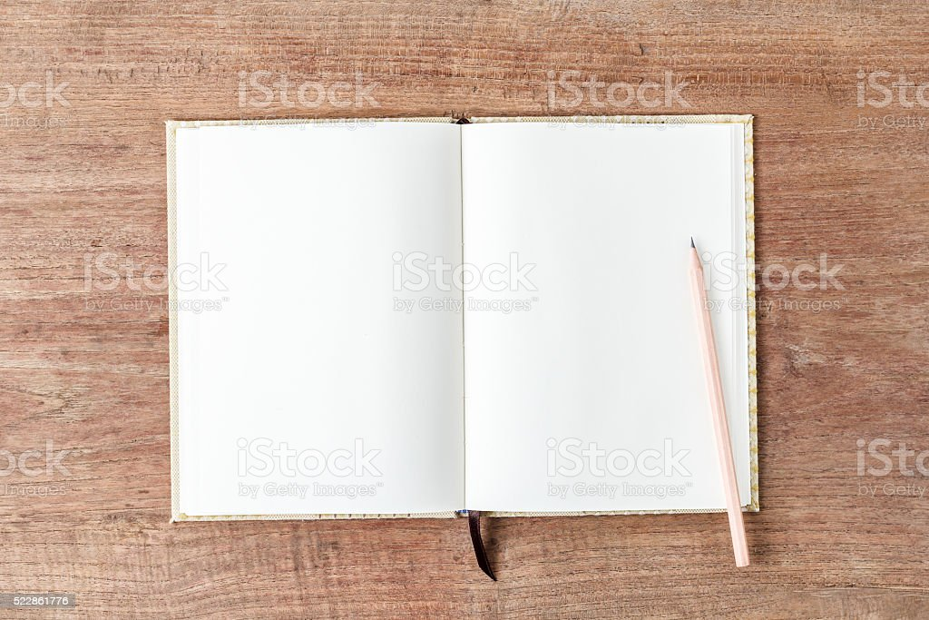 Blank open notebook, Business template mock up for adding text stock photo