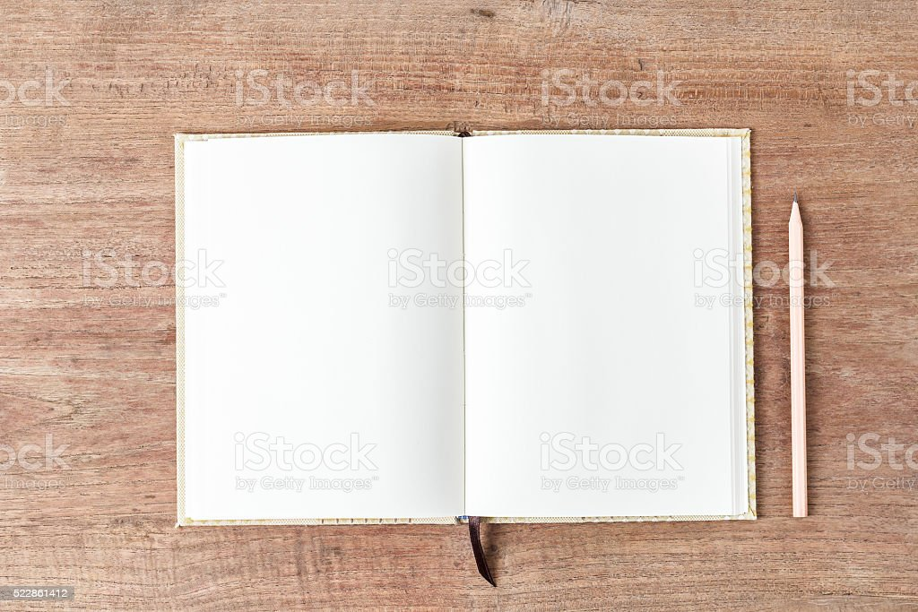Blank open notebook, Business template mock up stock photo