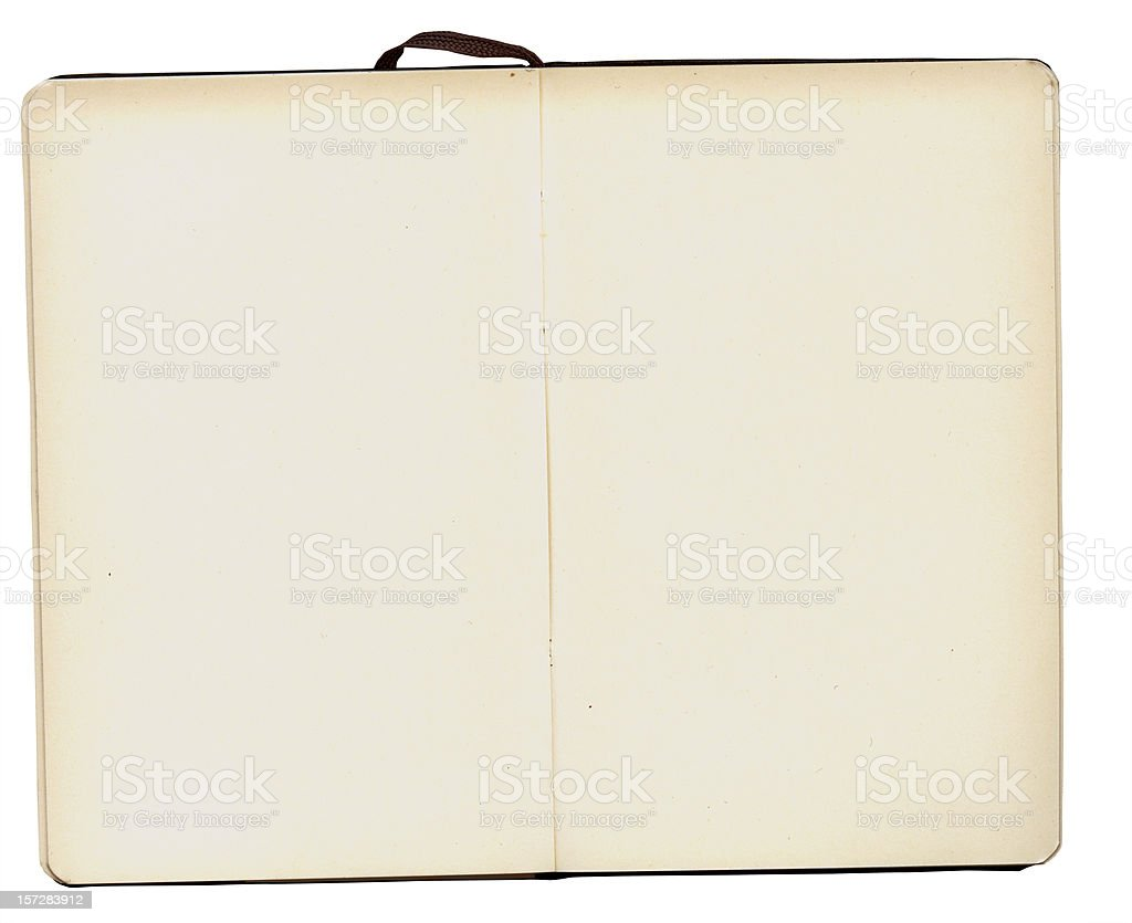 A blank, open notebook with a white border background stock photo