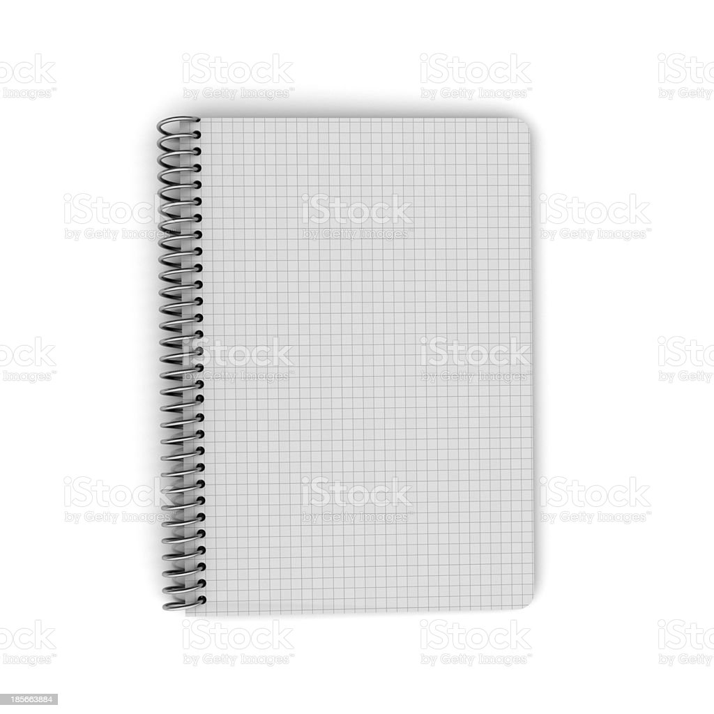 Blank open notebook with grid royalty-free stock photo