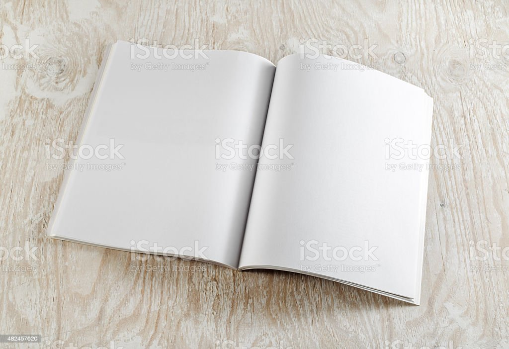 Blank opened book stock photo