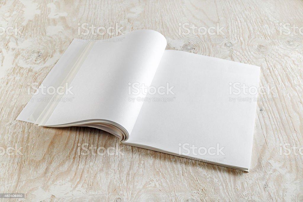 Blank opened brochure stock photo
