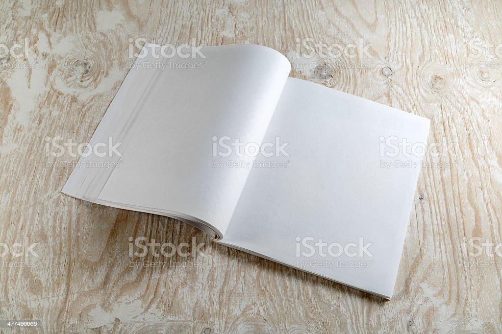 Blank opened magazine stock photo