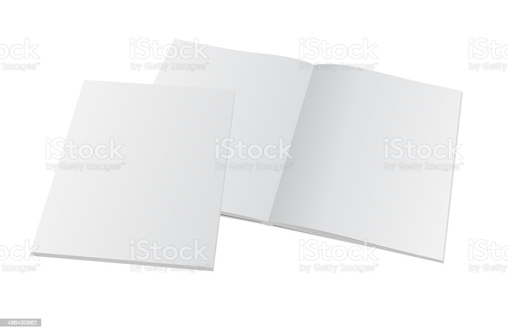 blank opened magazine with cover vector art illustration