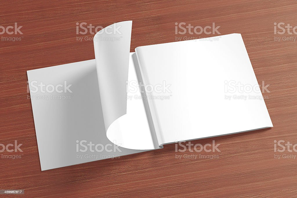 Blank opened square Magazine on the wooden Background stock photo