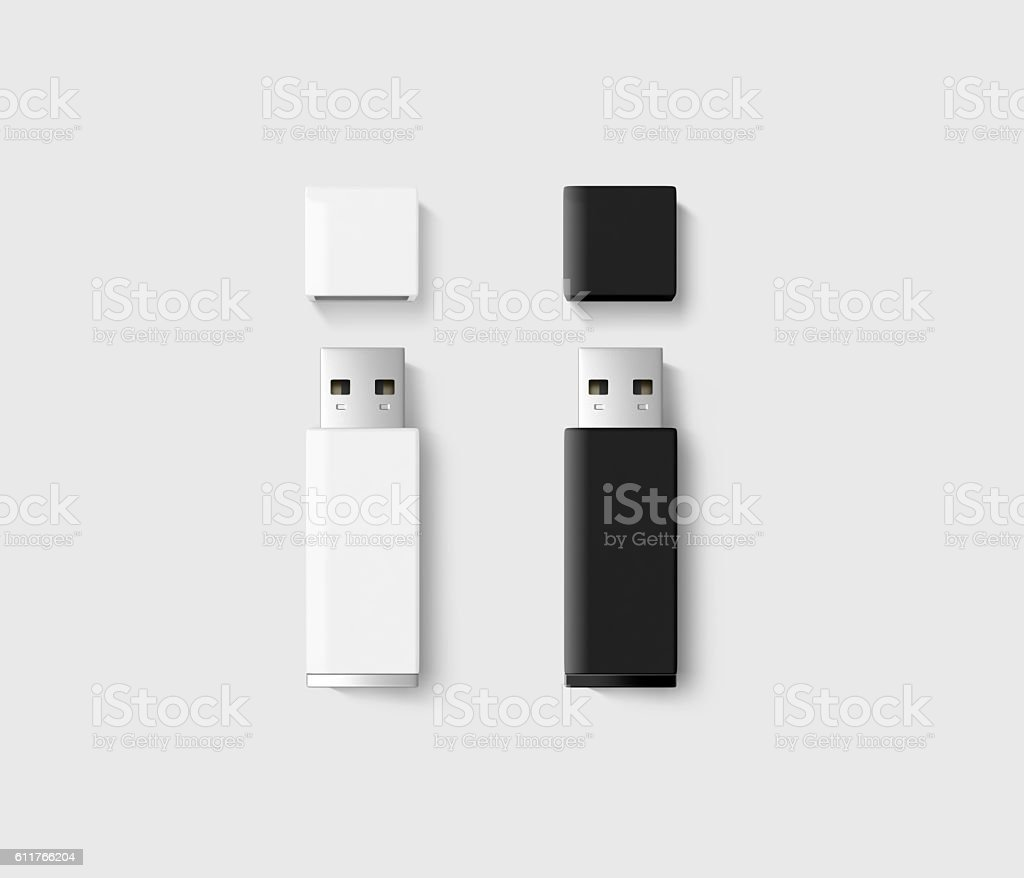 Blank opened usb drive design mockup set, black, white stock photo