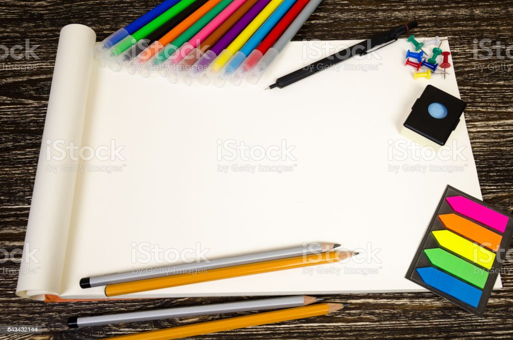blank or pattern for labels in the office or school style. On wooden background stock photo