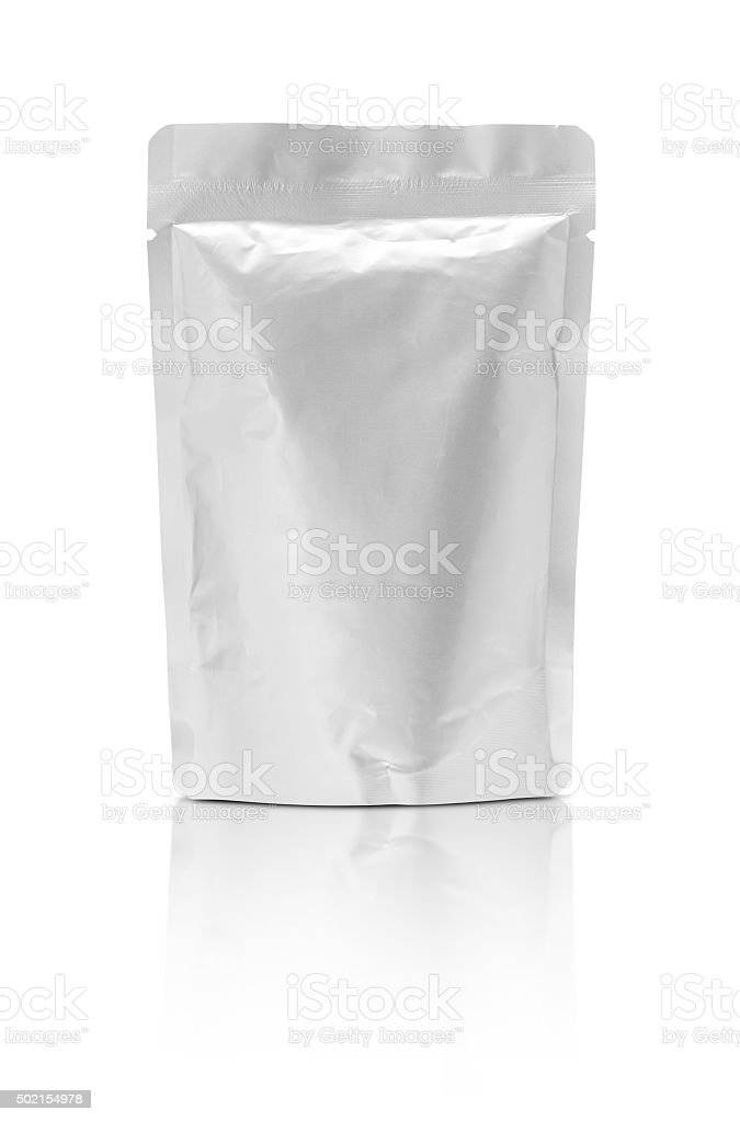 blank packaging aluminium foil pouch isolated on white background stock photo