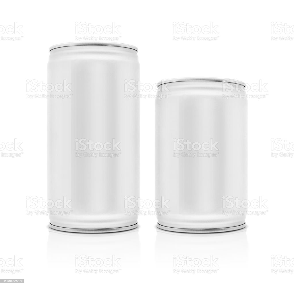 blank packaging beverage can isolated on white background stock photo