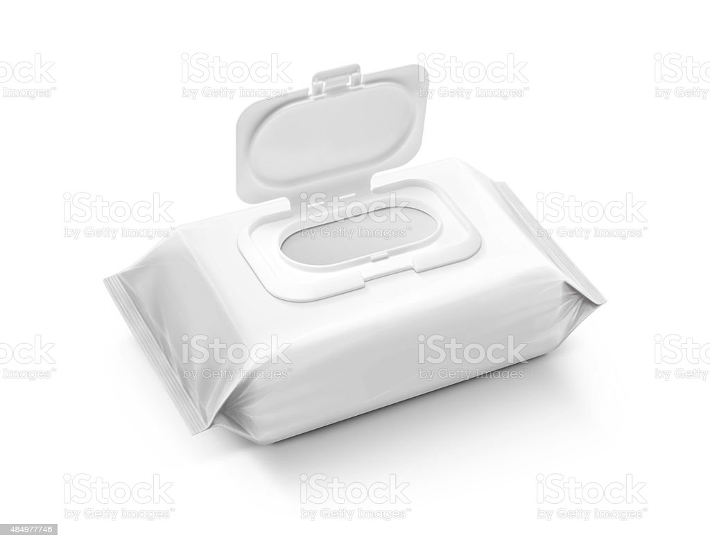 blank packaging wet wipes pouch isolated on white background stock photo