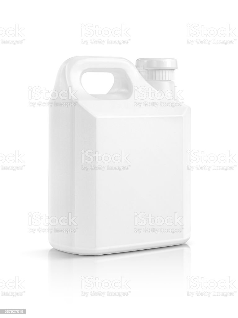 blank packaging white plastic gallon isolated on white stock photo