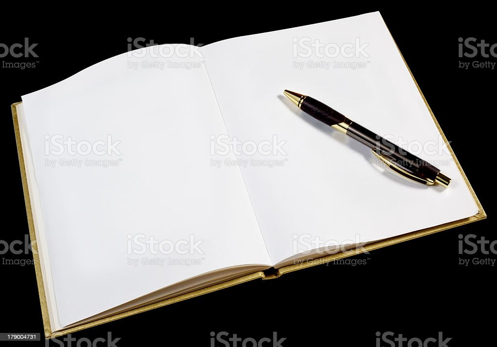 Blank Page in Open Gold Book royalty-free stock photo