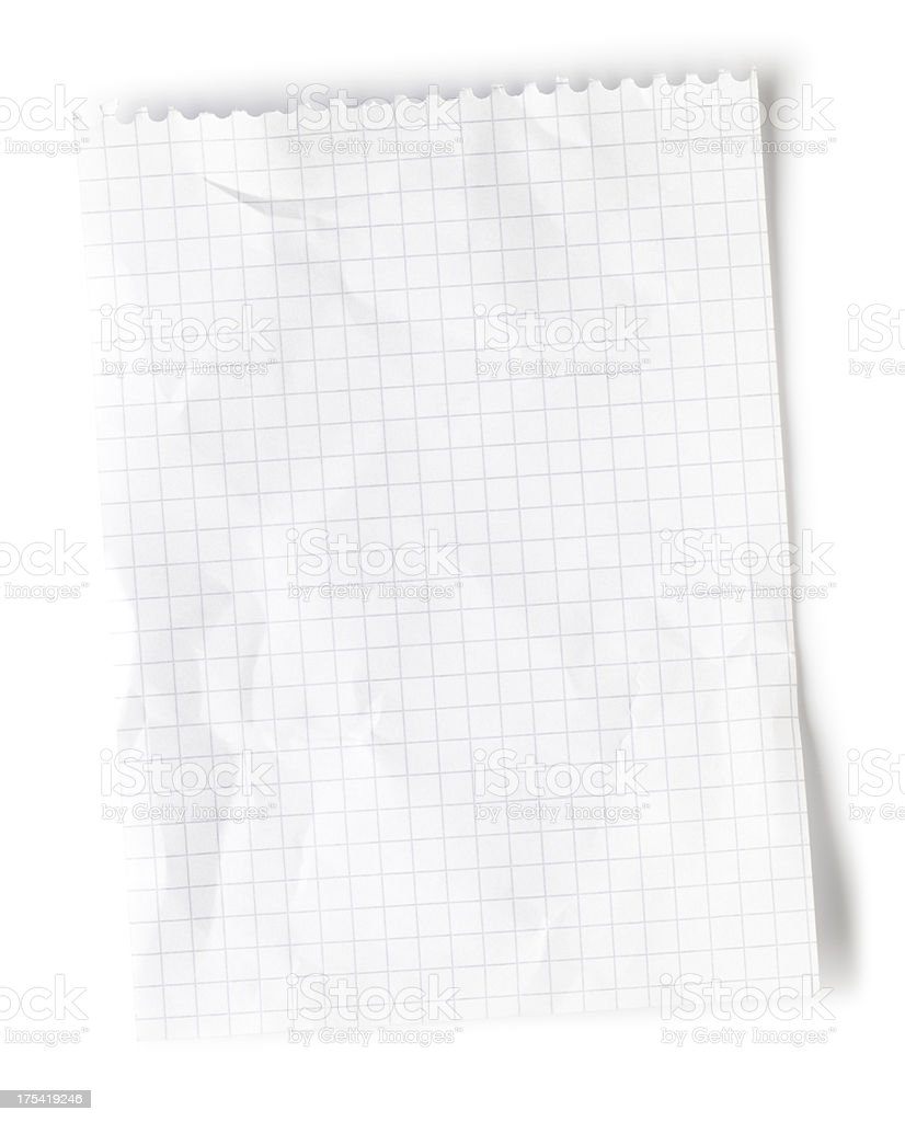 Blank page of lightly crumpled, white graph paper royalty-free stock photo