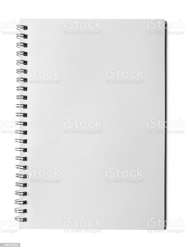 Blank page of notebook on white background stock photo