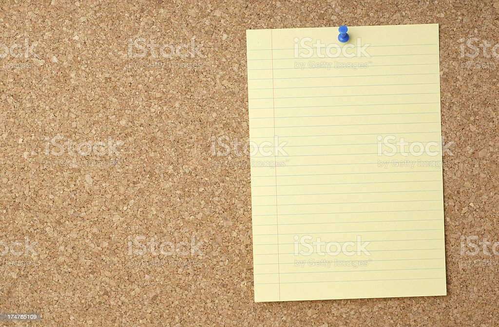 Blank Page on a Cork Message Board royalty-free stock photo