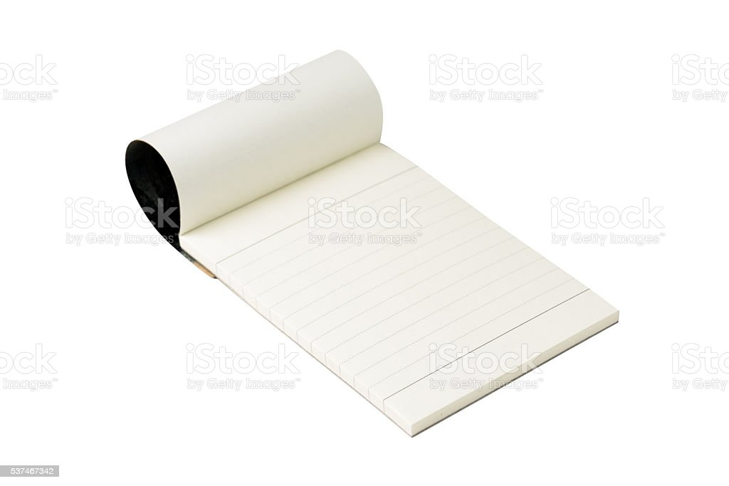 blank pages of a notebook open slightly isolated stock photo