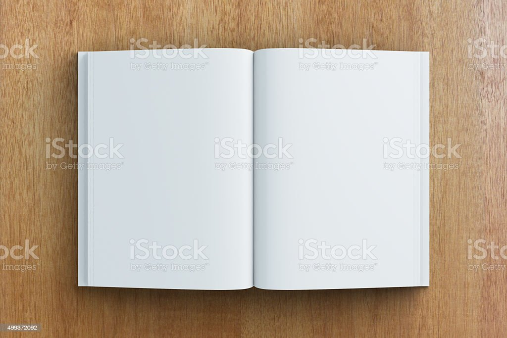 Blank pages of diary on wooden table, mock up stock photo