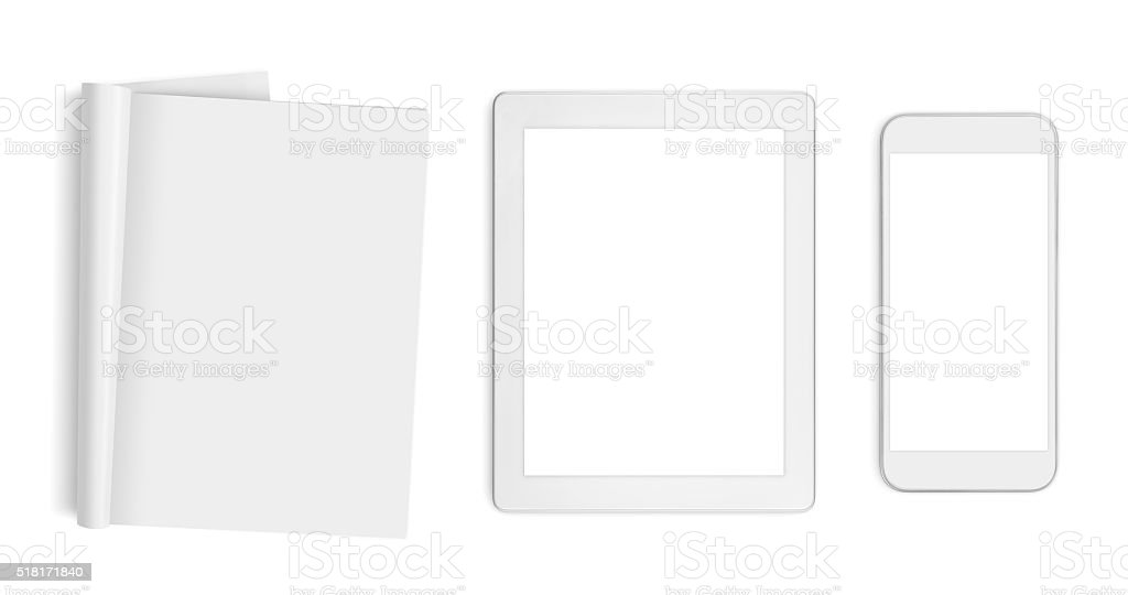 Blank pages, tablet computer and mobile phone isolated on white stock photo