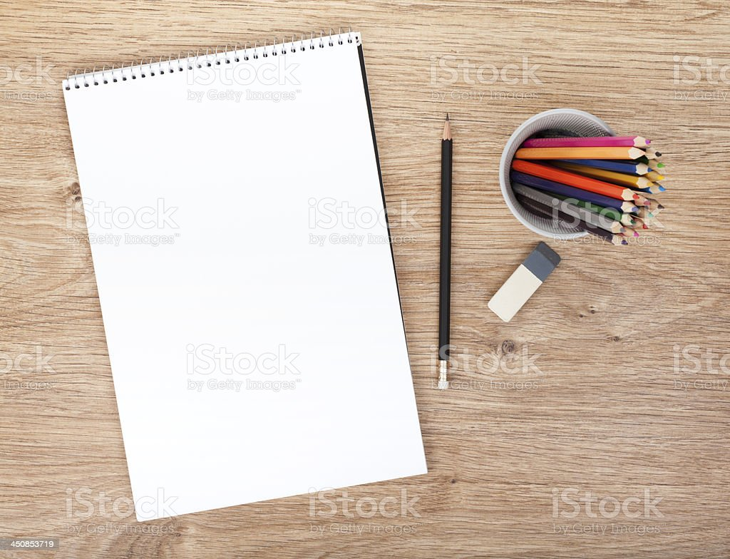Blank paper and colorful pencils royalty-free stock photo