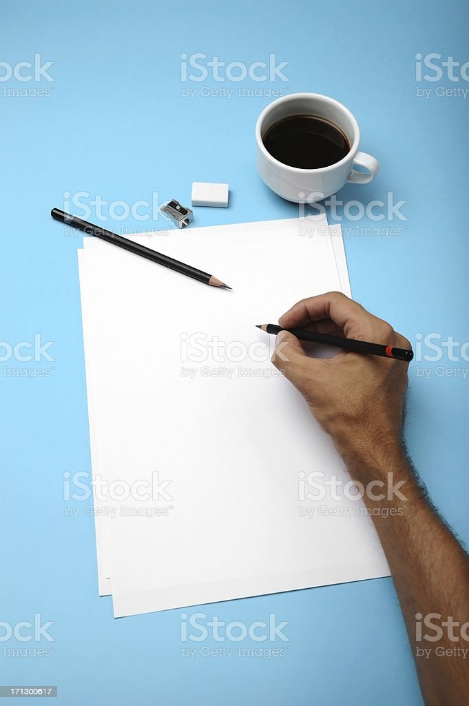 Blank paper and drawing tools stock photo