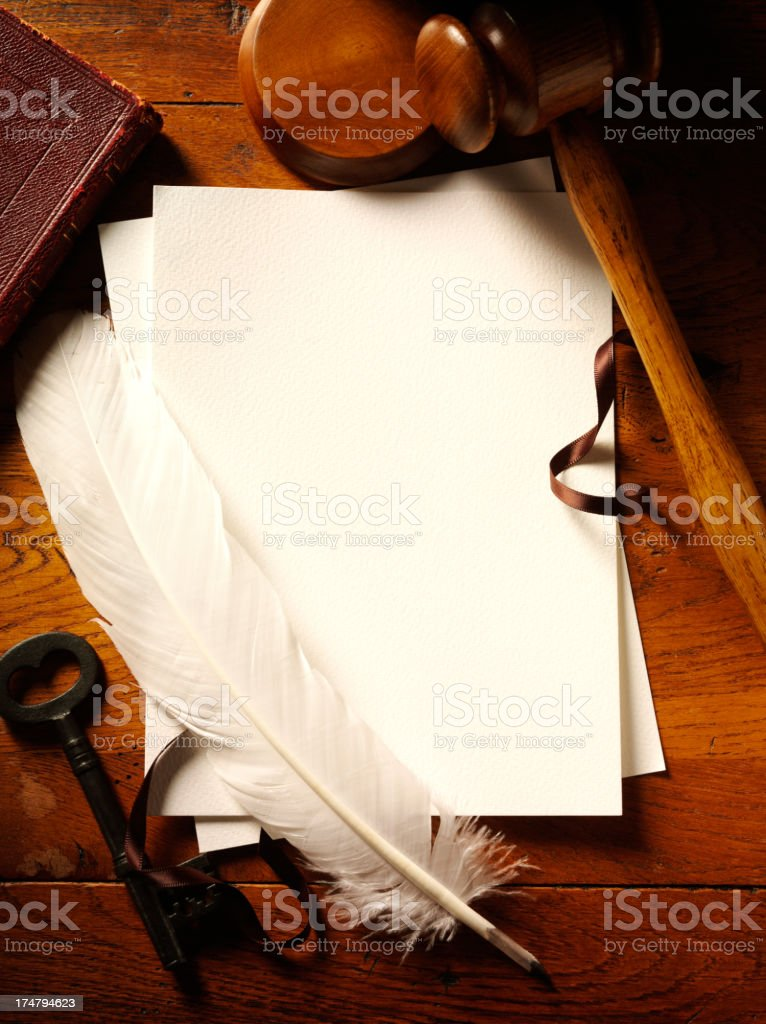 Blank Paper and Quill Pen, Gavel for Law or Auction royalty-free stock photo