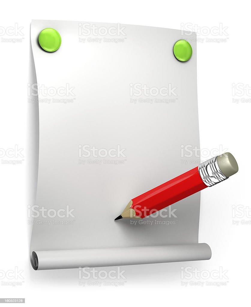 blank paper and red pencil royalty-free stock photo