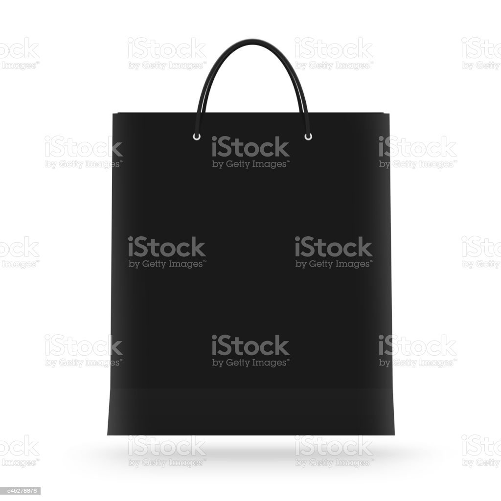 Blank paper bag mock up isolated. Black clear magazine packet stock photo