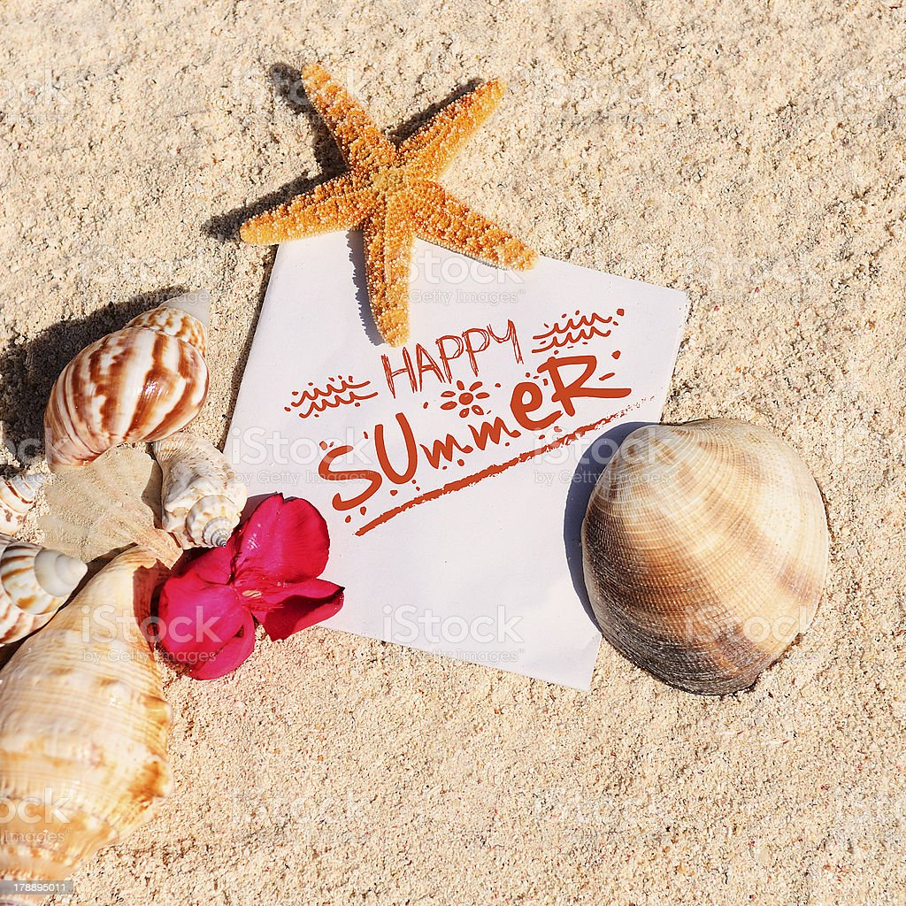 Blank paper beach sand starfish shells summer royalty-free stock photo