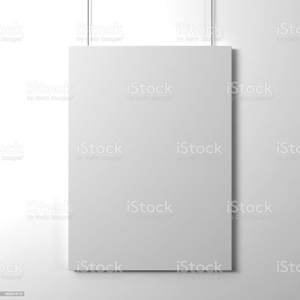 A blank paper card on a white background stock photo
