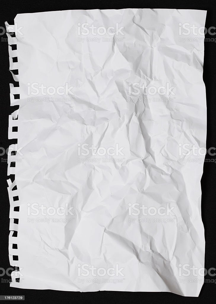 Blank paper crumpled up royalty-free stock photo