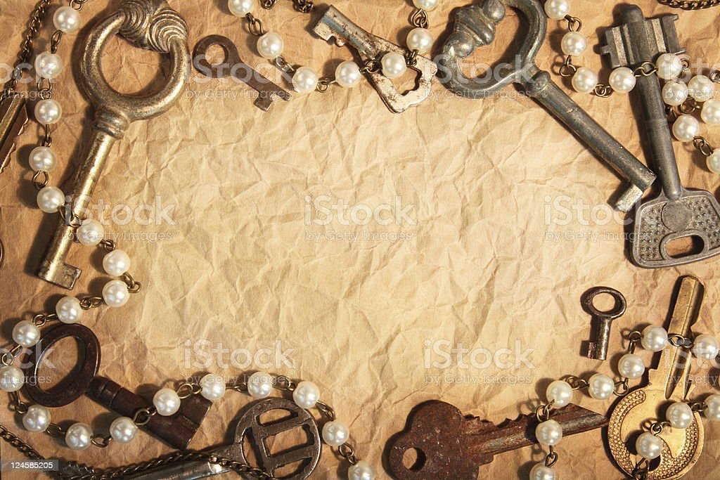 Blank paper  framed different keys royalty-free stock photo