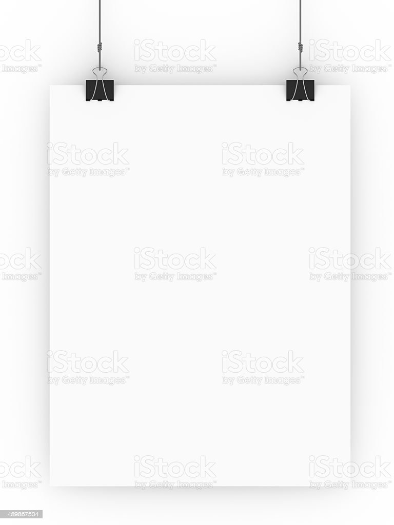 Blank paper hanging from clamps isolated on a white background. stock photo