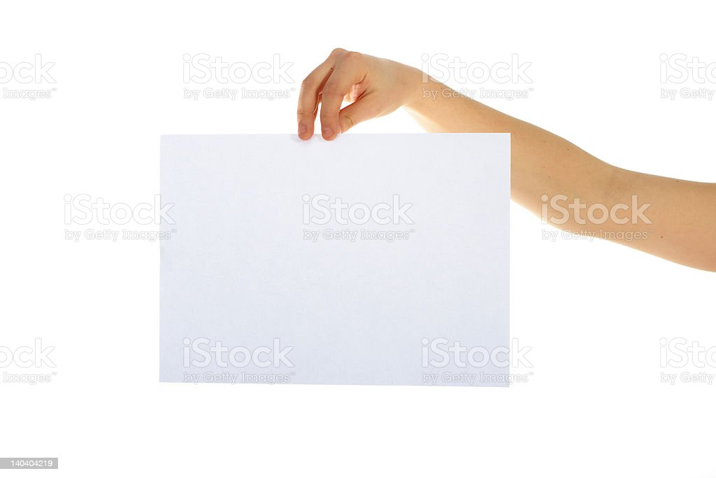Blank paper in a hand royalty-free stock photo