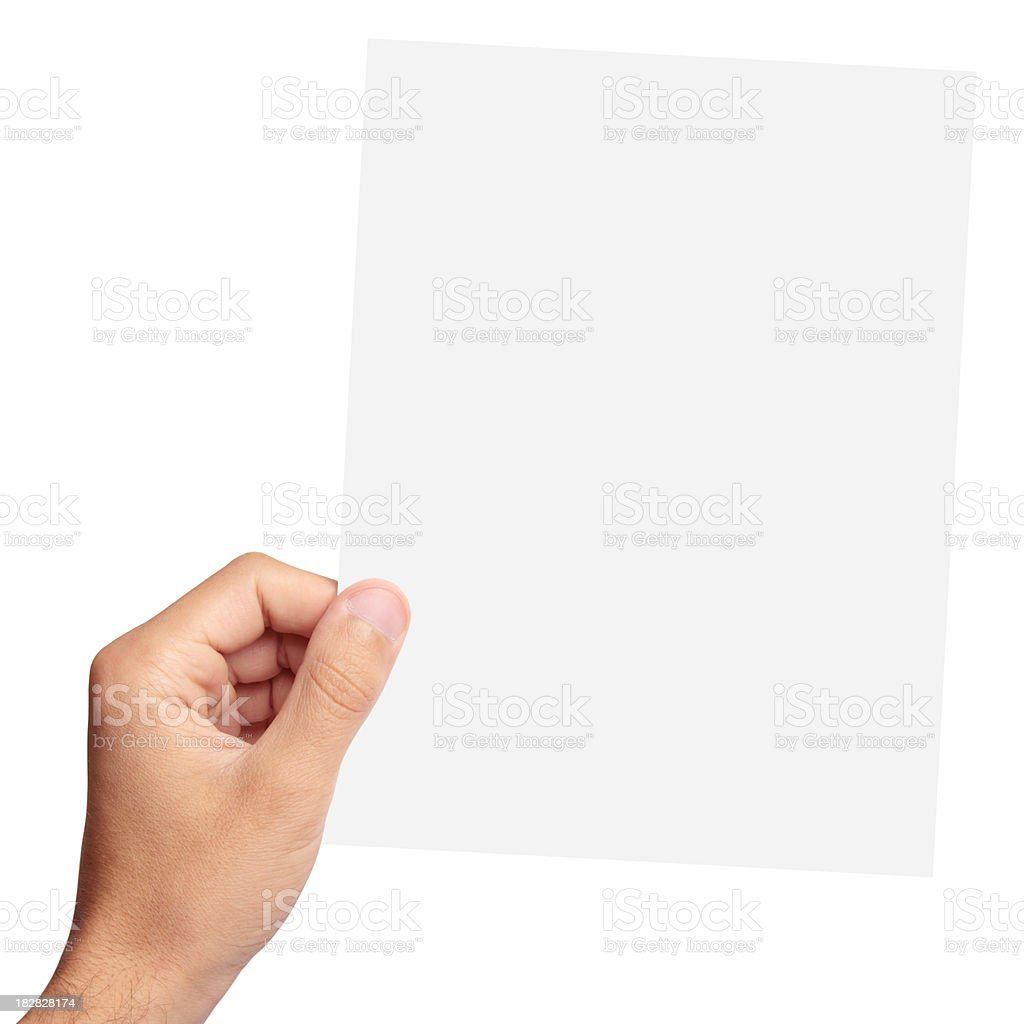 Blank paper in hand royalty-free stock photo