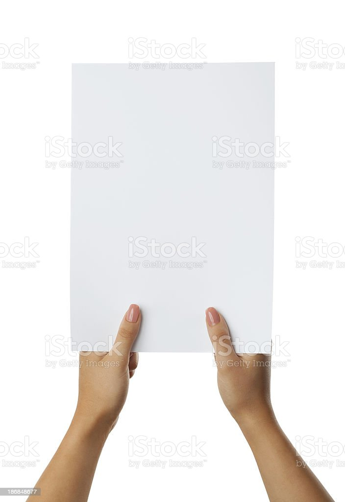 Blank paper in woman's hand on white background royalty-free stock photo