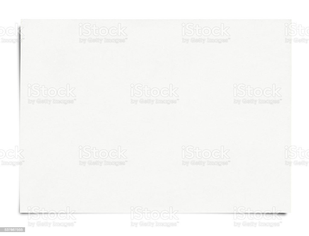 Blank paper isolated on white stock photo