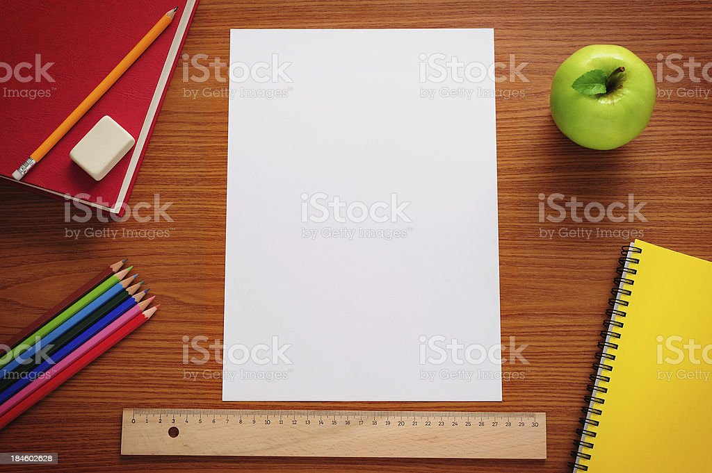 Blank paper on desk stock photo