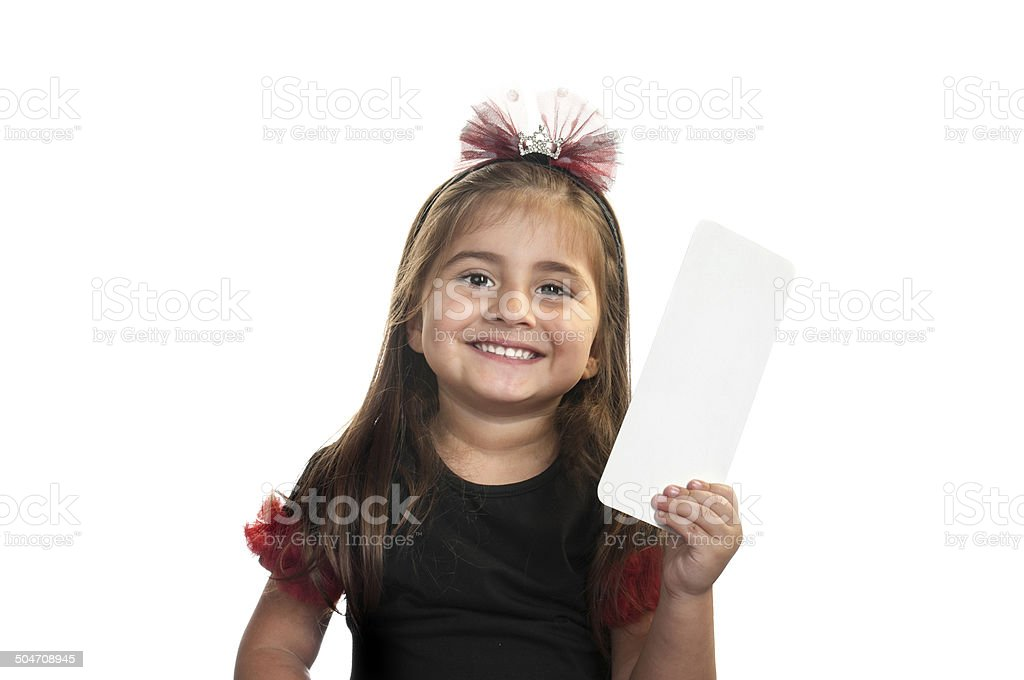 Blank paper on little girl's hand royalty-free stock photo