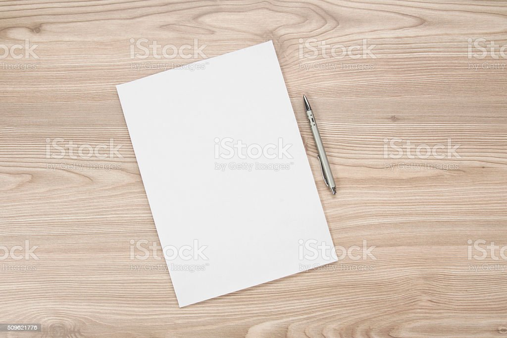 blank paper on the table stock photo