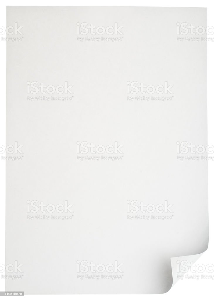 Blank paper on white background stock photo