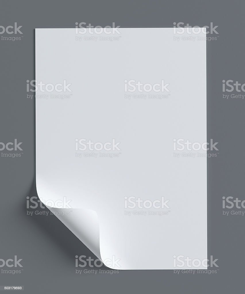 Blank paper page with curl on grey background stock photo