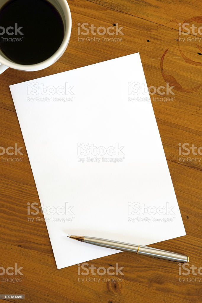 Blank Paper Pen and Coffee royalty-free stock photo