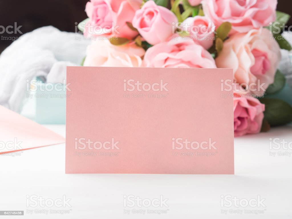 Blank paper pink card Valentine's day and roses stock photo