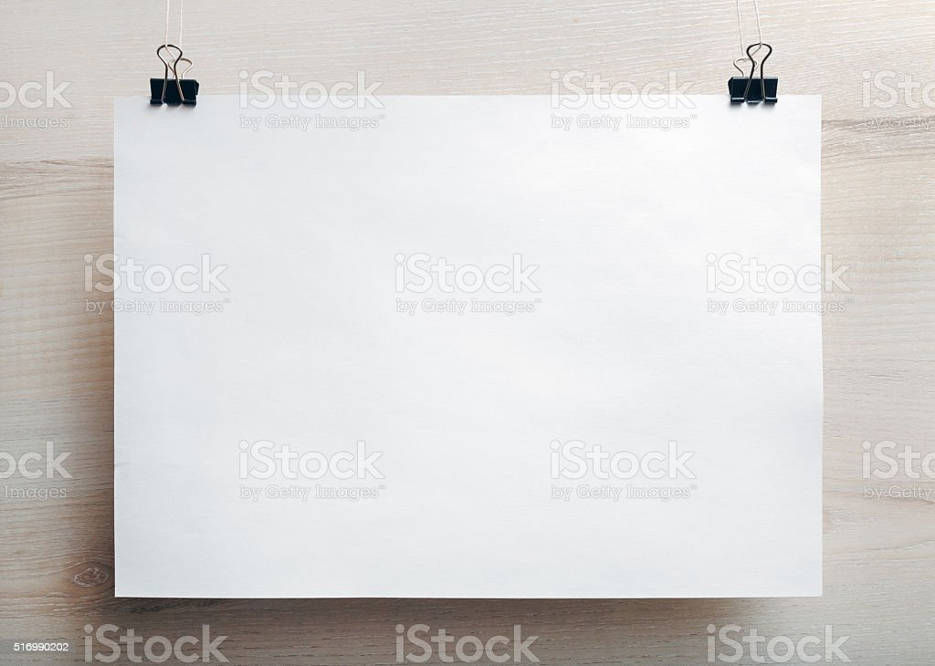 Blank paper poster stock photo