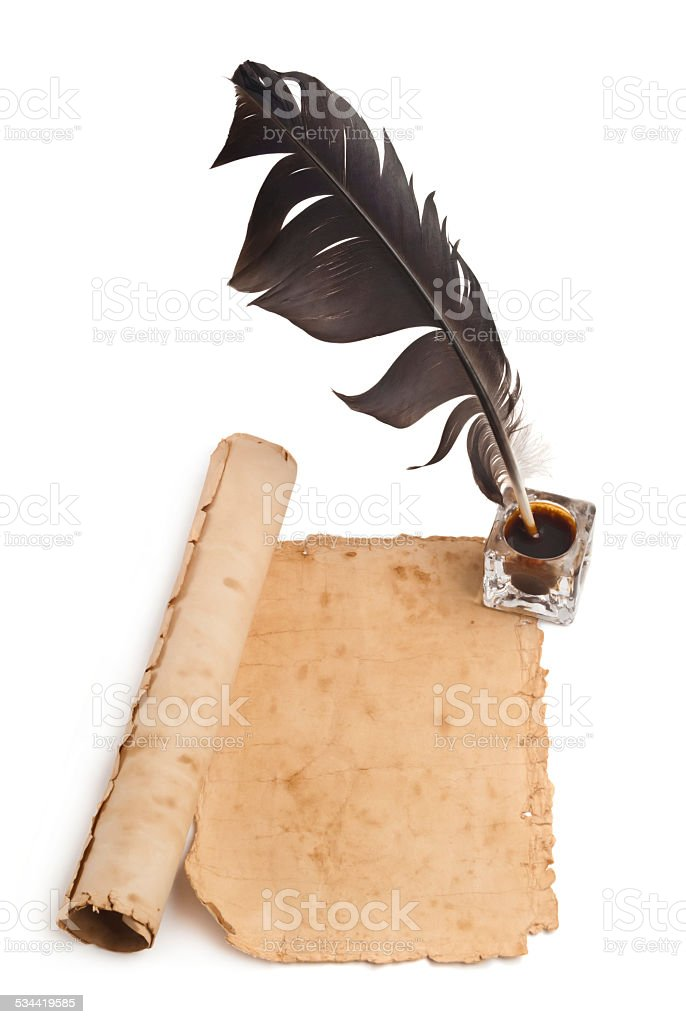 Blank paper, quill & ink stock photo