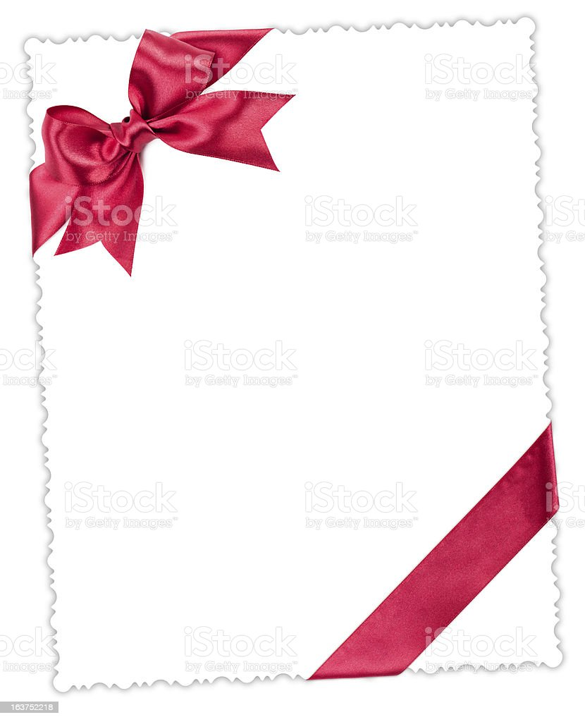 blank paper sheet with red bow royalty-free stock photo