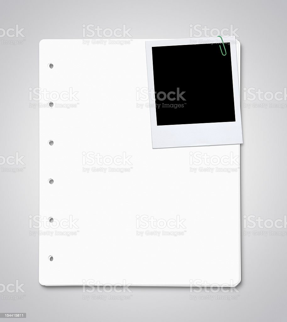 Blank paper sheets with instant photo stock photo