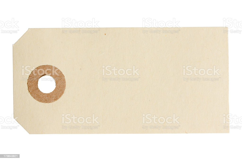 Blank paper tag isolated on white background. royalty-free stock photo