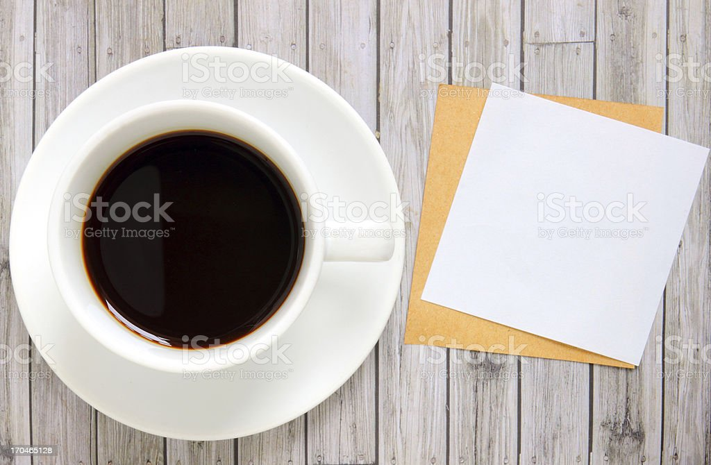 Blank paper with hot coffee cup royalty-free stock photo
