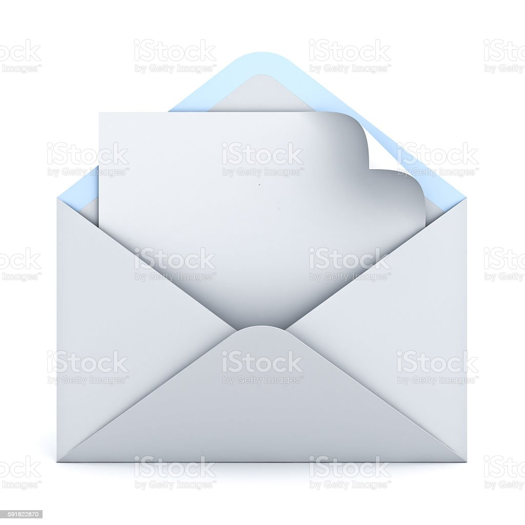 Blank paper with page curl in white envelope stock photo